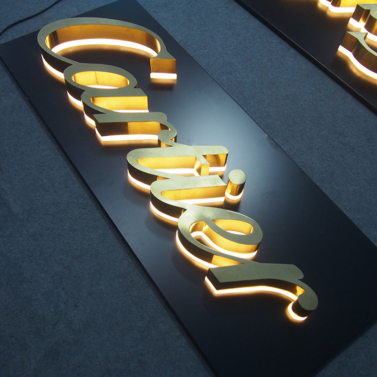 Illuminated Channel Letter Signs Halo-lit Gold Polish 3D Letter